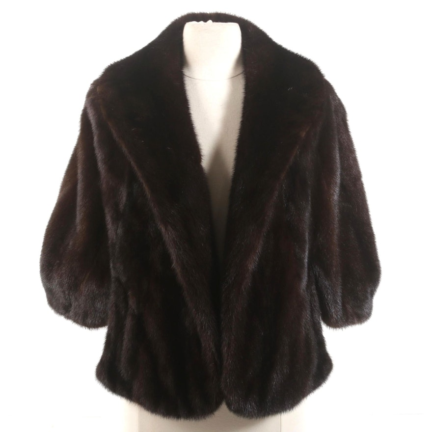 Dark Mahogany Mink Fur Stole with Shawl Collar from Samuel Rifken Furs, Vintage