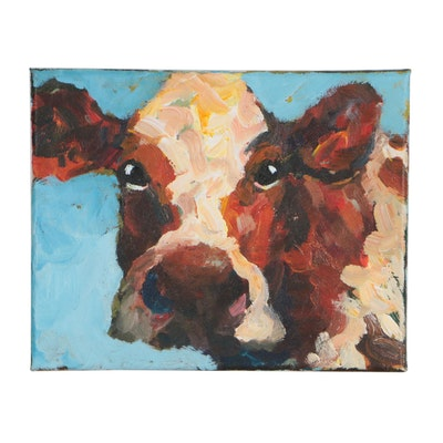 Elle Raines Acrylic Painting Cow Portrait