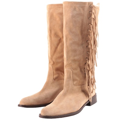 Coach Arianna Fringe Boots in Tan Suede, Made in Italy