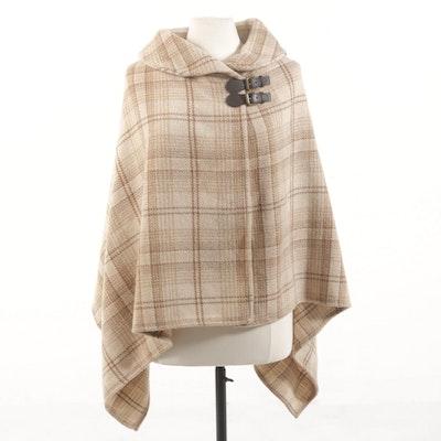 Lauren Ralph Lauren Wool Cape with Leather Buckle Closure