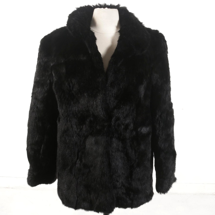 Black Rabbit Fur Jacket, Vintage