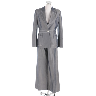 Carolina Herrera New York Silk Pantsuit with Contrast Stitching