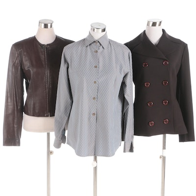 Ron Leal Leather and Double-Breasted Jackets and Button-Up Shirt