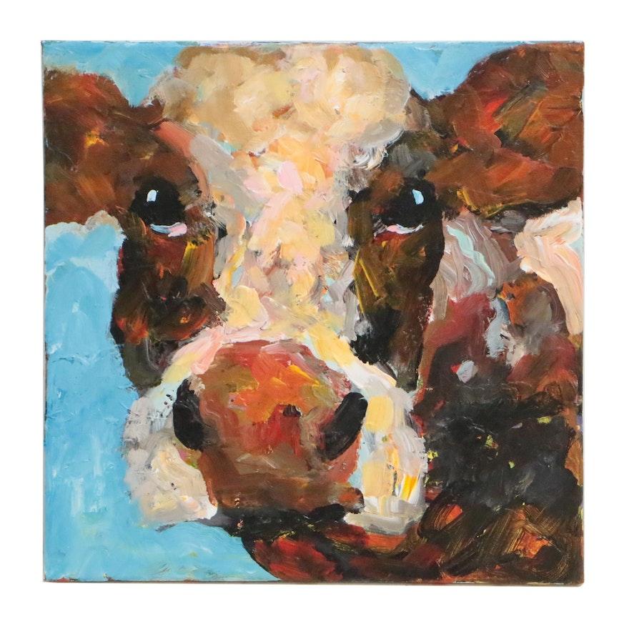 Elle Raines Acrylic Painting Cow Portrait
