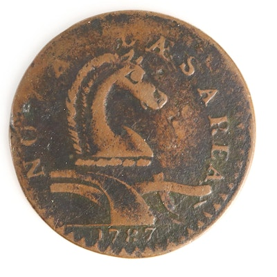 """A Pre-Federal 1787 New Jersey Horse and Plow Copper Coin, """"PLURIRUS"""" Variety"""