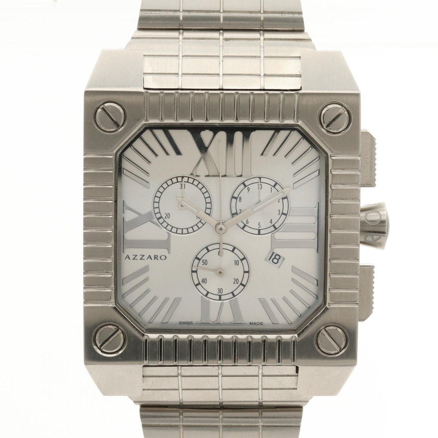 Azzaro Stainless Steel Quartz Chronograph Wristwatch