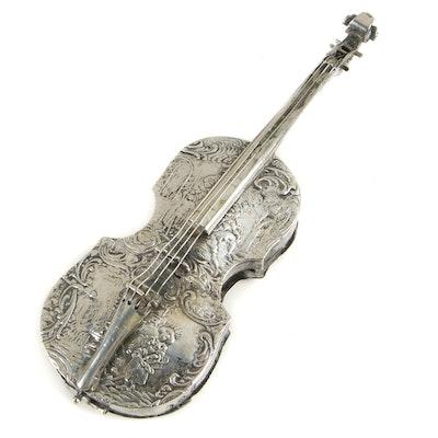 Antique Dutch Import 833 Silver Violin-Form Box, 19th Century