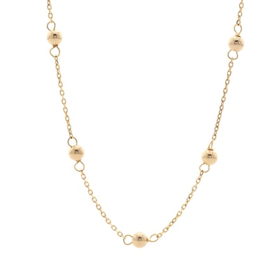 10K Yellow Gold Bead and Chain Necklace