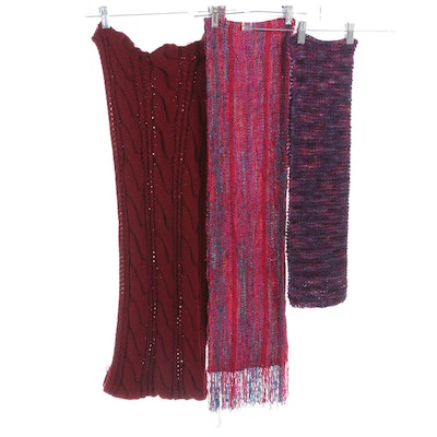 Dark Red Wool Cable Knit Infinity Scarf, Multicolor Fringed Scarf and More