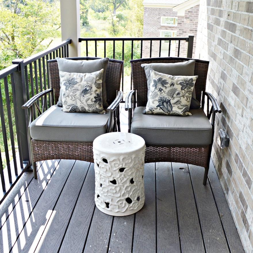 Panama Jack Patio Chairs and Ceramic Garden Stool, Contemporary