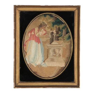 """Antique English Silk Mourning Embroidery """"Fame Decorating Shakespeare's Tomb"""""""