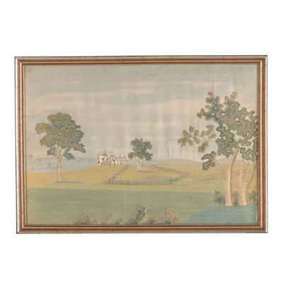 Antique English Silk Embroidery Landscape, 18th Century