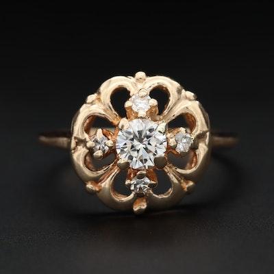 14K Yellow Gold Diamond Clover Ring