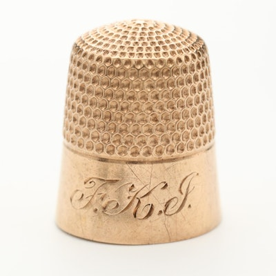 Vintage Stern Bros. 10K Yellow Gold Thimble