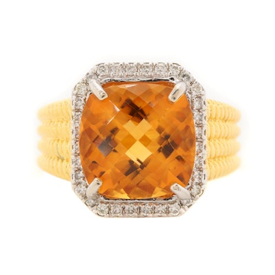 14K Yellow Gold Citrine and Diamond Ring with Beaded Detail Shoulders
