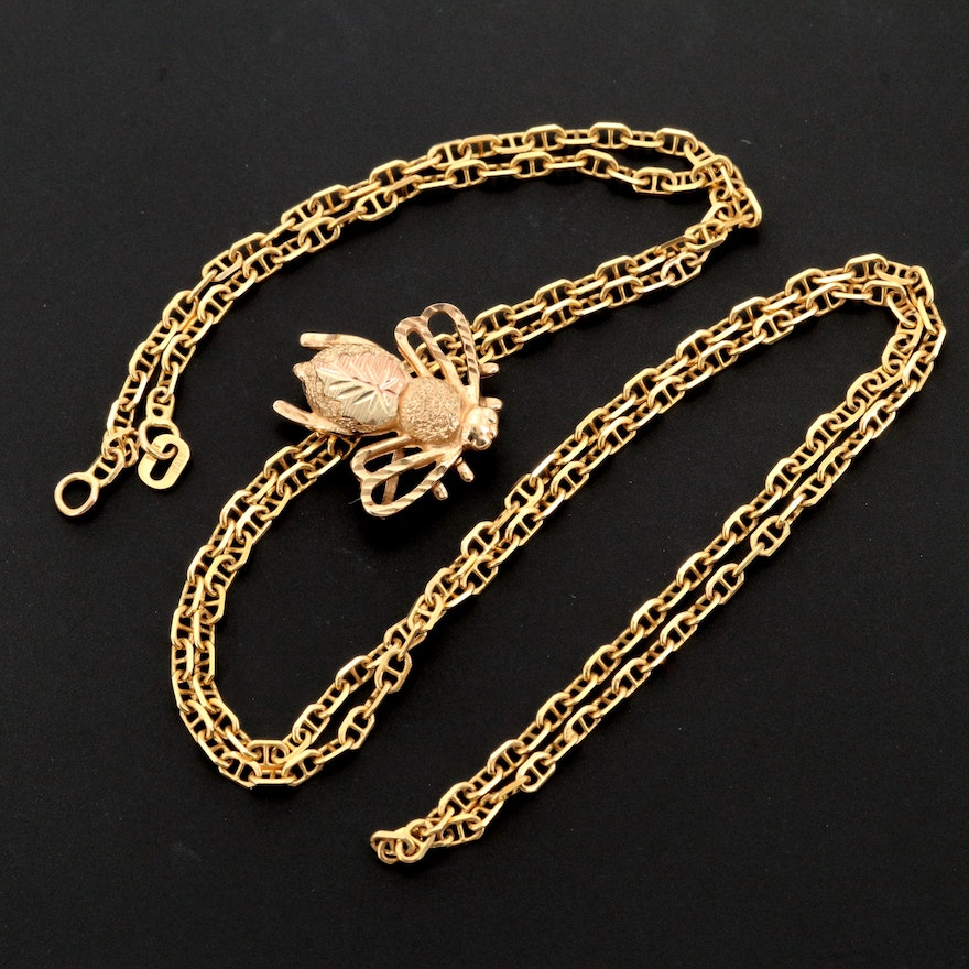 14K Yellow Gold Mariner Chain with 10K Gold Bee Converter Brooch