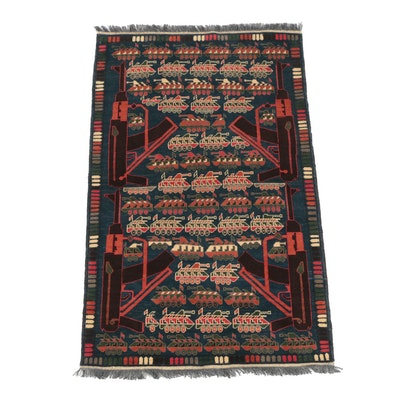 Hand-Knotted Afghan Wool War Rug