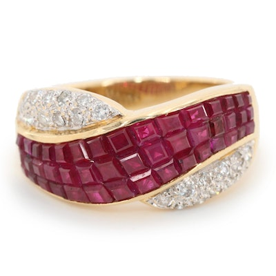 18K Yellow Gold Ruby and Diamond Crossover Ring