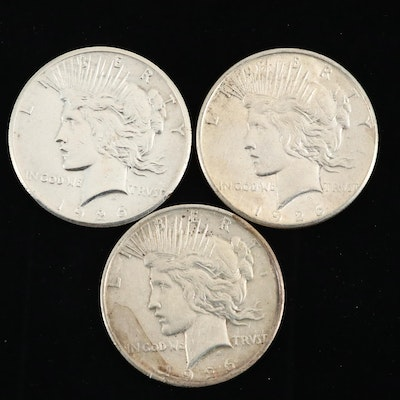 Three Silver Peace Dollars: 1926, 1926-D, and 1926-S