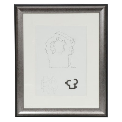 """Eduardo Chillida Lithograph for """"Derrière le Miroir"""""""
