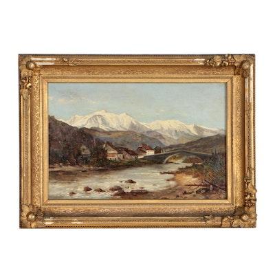 Frank Henry Shapleigh Alpine Village Oil Painting