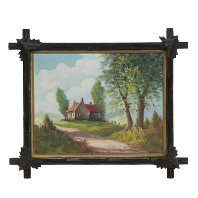 Early 20th Century Cottage Landscape Oil Painting