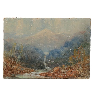 20th Century Mountain River Landscape Oil Painting