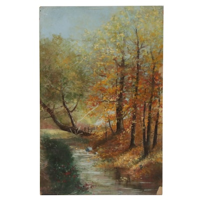 20th Century Forest Creek Scene Oil Painting