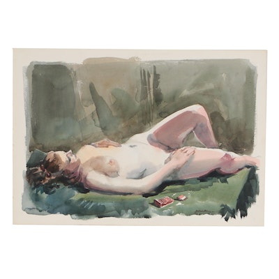 Jack Meanwell Watercolor Painting of Reclining Female Nude
