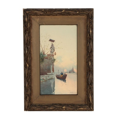 Early 20th Century Watercolor Painting of a Venice Canal Scene