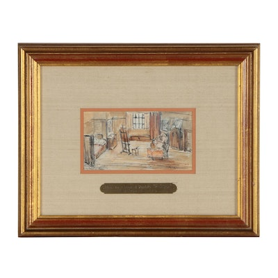 """Attributed to Edvard Munch Theatrical Sketch of """"La Bohéme"""" Set"""