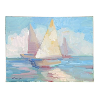 Sally Rosenbaum Sailboat Oil Painting