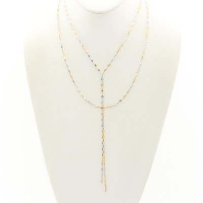 14K White and Yellow Gold Double Y Chain Necklace