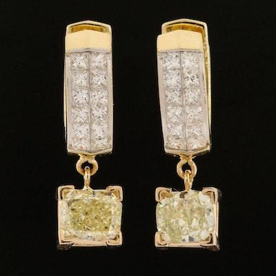 18K Yellow Gold Diamond Earrings Featuring 2.03 CTW Light Yellow Diamonds