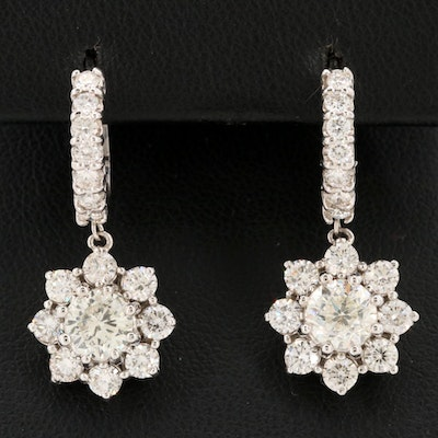 14K White Gold 2.88 CTW Diamond Earrings