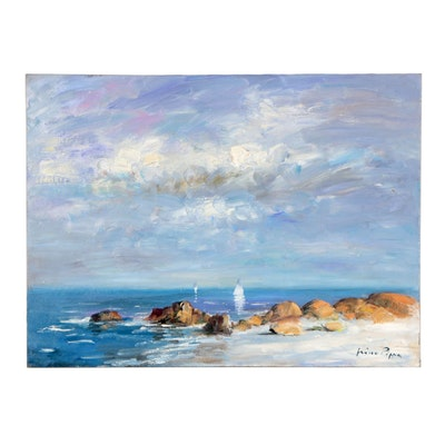 "Nino Pippa Oil Painting ""Sailboats Off Normandy"""