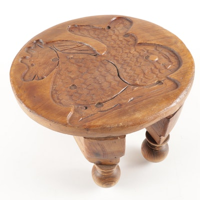 Vintage Dragon Hand Carved Wood Stool