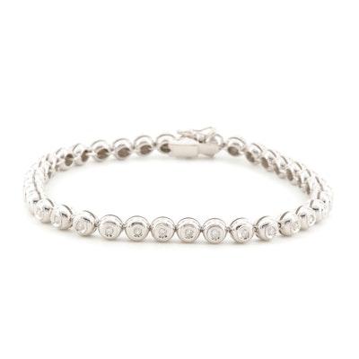 18K White Gold and Diamond Bead Chain Bracelet