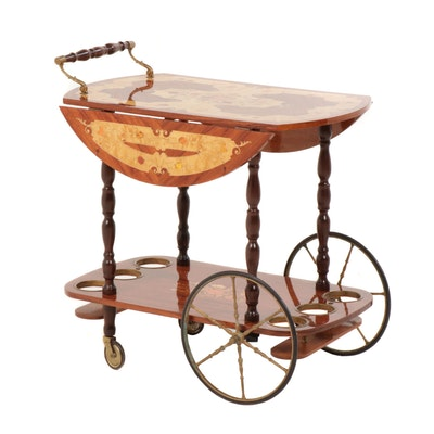 Italian Maple Tiered Marquetry Tea Trolley with Drop Leaf Sides