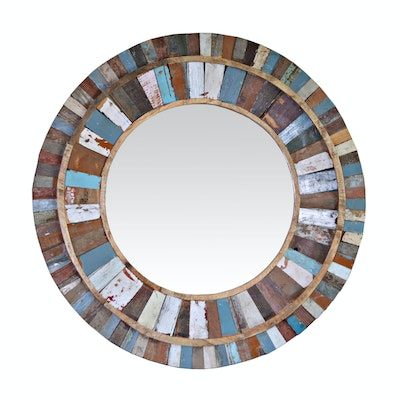 Renwil Rustic Painted Wood Round Wall Mirror, Contemporary