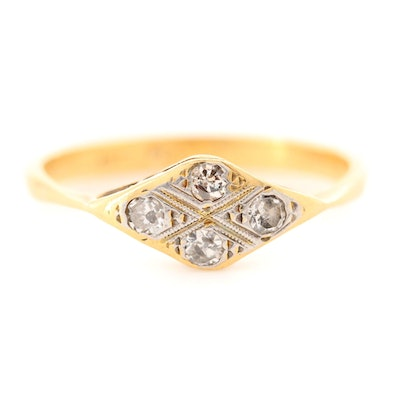 Antique 18K Yellow Gold and Platinum Diamond Ring