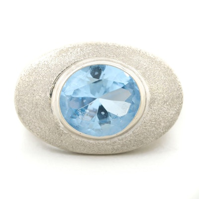14K White Gold Blue Topaz Ring with Textured Crown