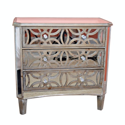 Three Hands Mirrored Three-Drawer Chest, Contemporary