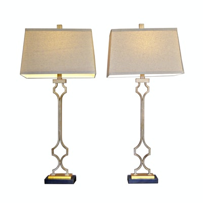 "Pair of Uttermost ""Vincent"" Table Lamps, Contemporary"