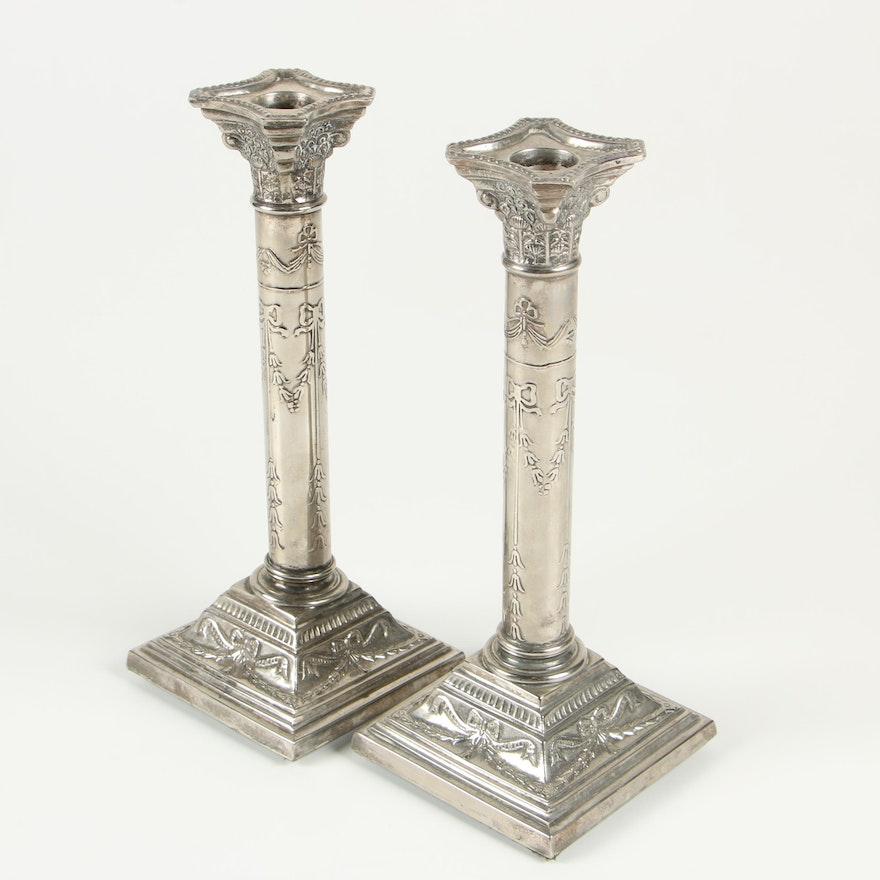 Pair of Silver Plate Column Candlesticks
