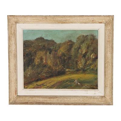 Oskar Moll Landscape Oil Painting