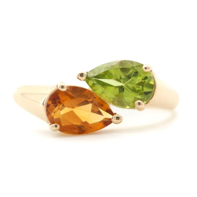 14K Yellow Gold Peridot and Citrine Bypass Ring