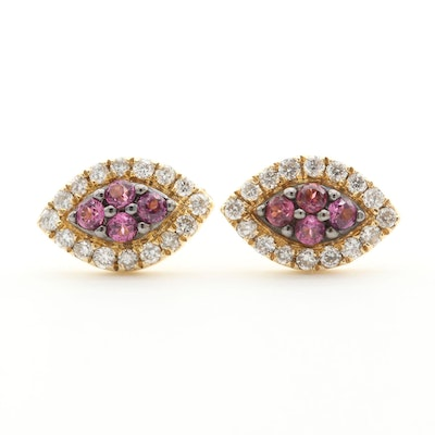 14K Yellow Gold Garnet and Diamond Button Earrings
