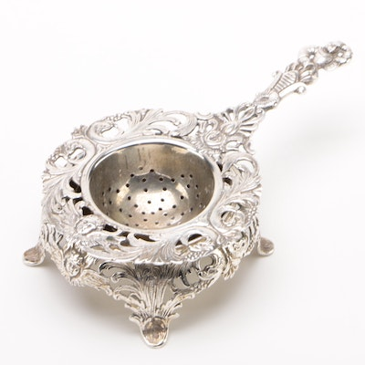 Dutch Baroque German 800 Silver Tea Strainer with Base