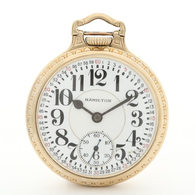 Vintage Hamilton Railroad Grade 10K Gold Filled Pocket Watch, Circa 1935